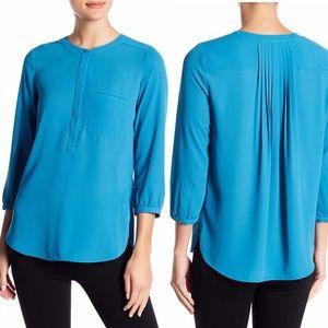 NYDJ 3/4 Sleeve Henley Blouse Blue Top M